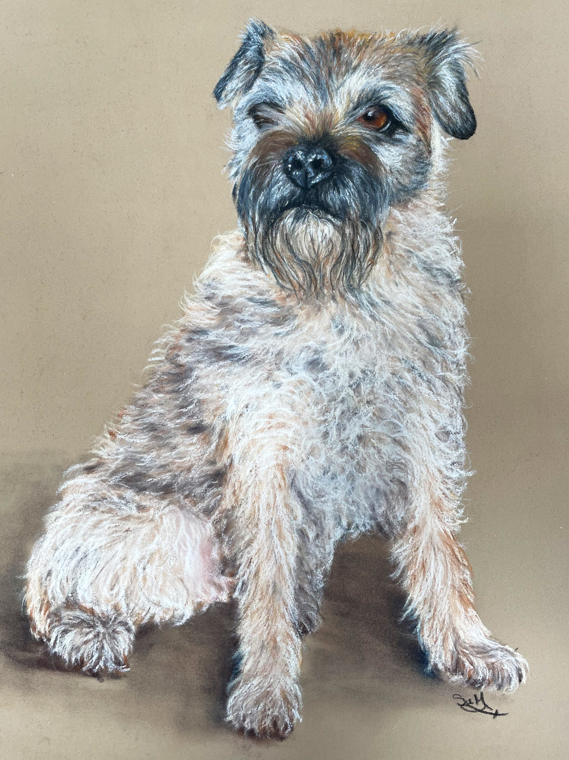 Terrier pastel commission painting