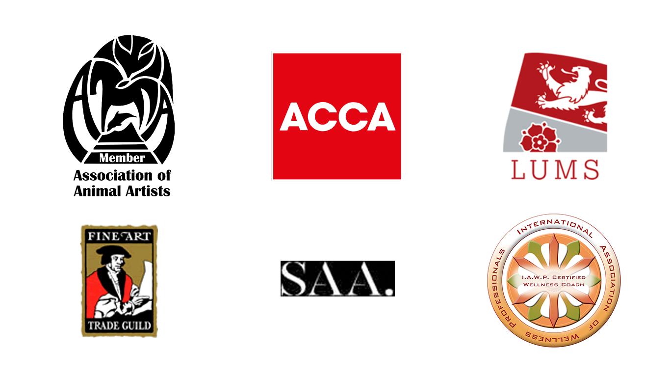 Association of Animal Artists, ACCA, Lancaster Uni, Fine Art Trade Guild, SAA, IAWP